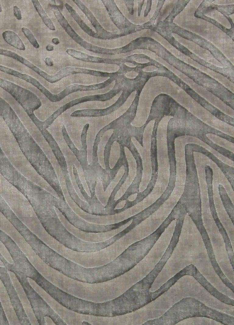An animal print rug.