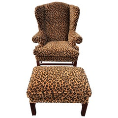 Animal Print Wingback Chair and Ottoman