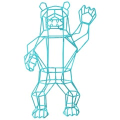 Animal Sculpture, the Wire Marching Bear by Bend Goods, Aqua