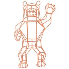 Animal Sculpture, The Wire Marching Bear by Bend Goods, Peachy Pink