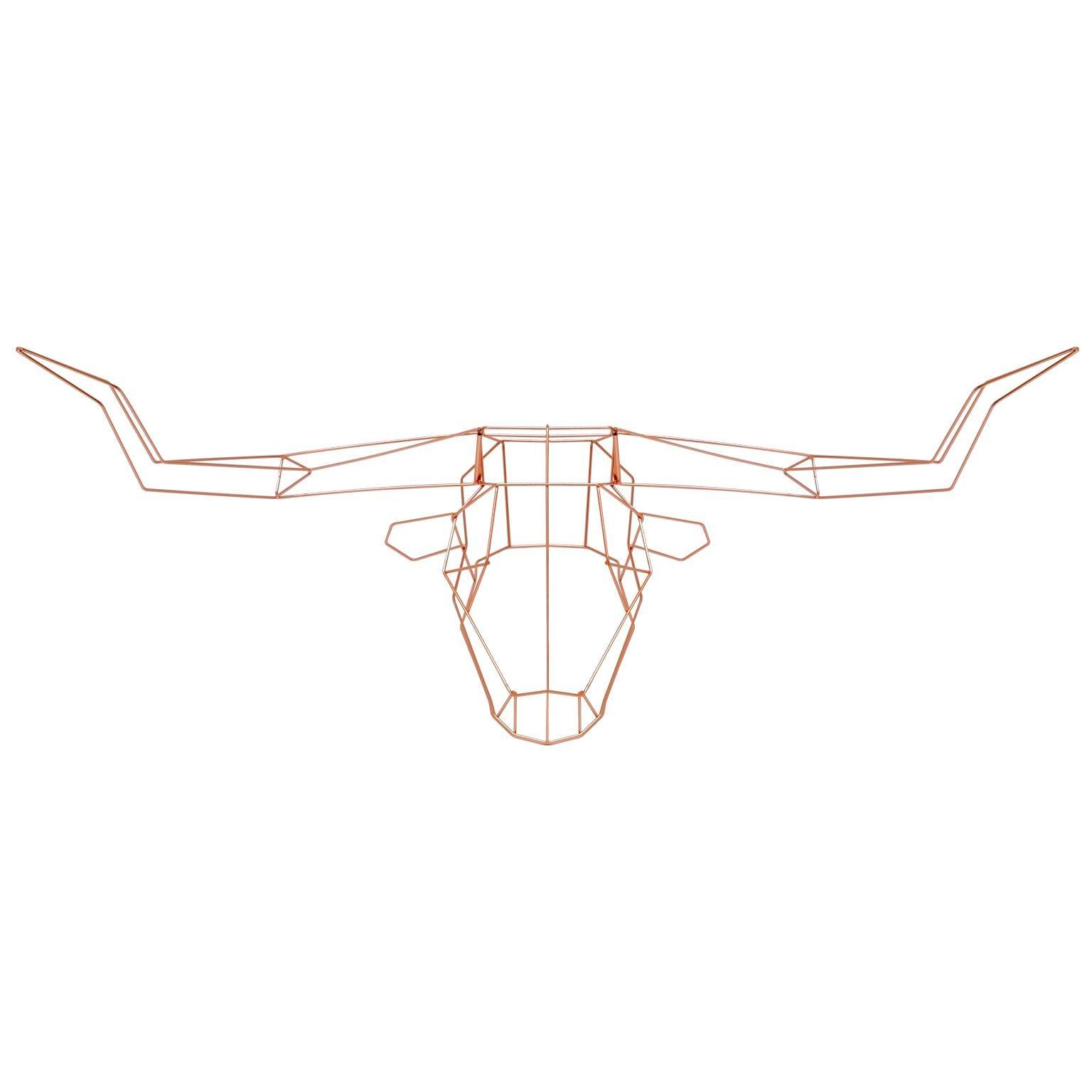 Animal Sculpture, Wall Art, The Long Horn by Bend Goods, Copper