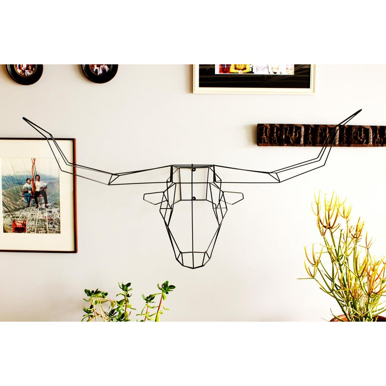 The longhorn is the largest in the animal sculpture collection and will add a wild feel to any space. This wire design is made to mount on your walls or sit atop a shelf. Copper and gold finish for indoor use only.