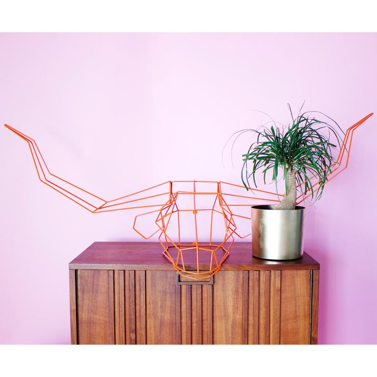 Modern Animal Sculpture, Wall Art, the Long Horn by Bend Goods, Gold For Sale