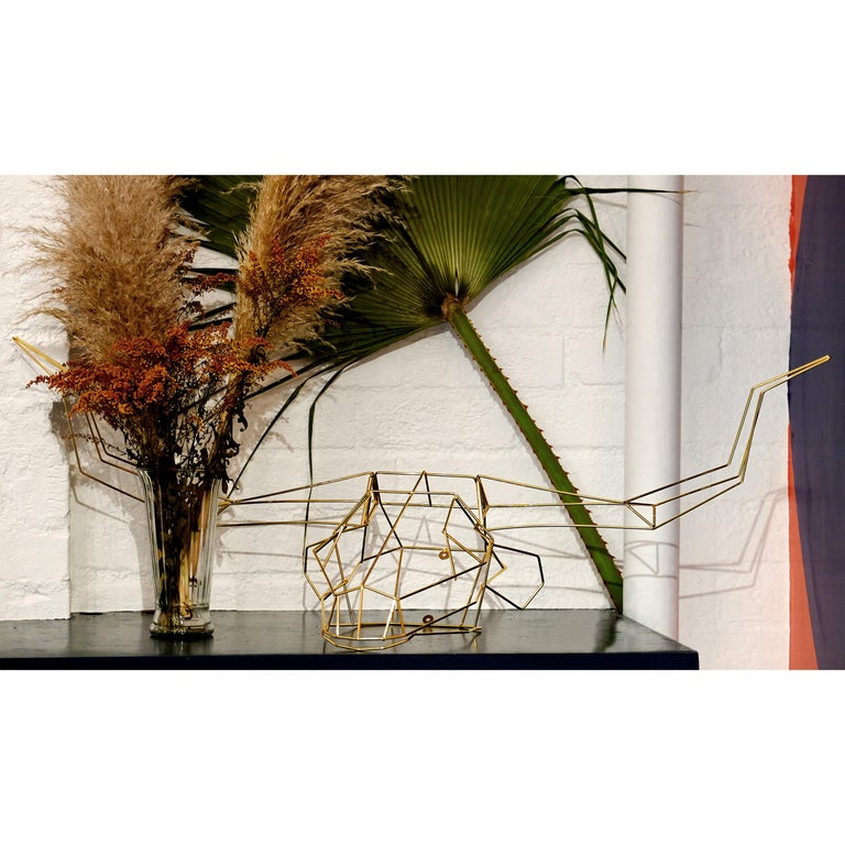 Animal Sculpture, Wall Art, the Long Horn by Bend Goods, Gold In New Condition For Sale In Los Angeles, CA
