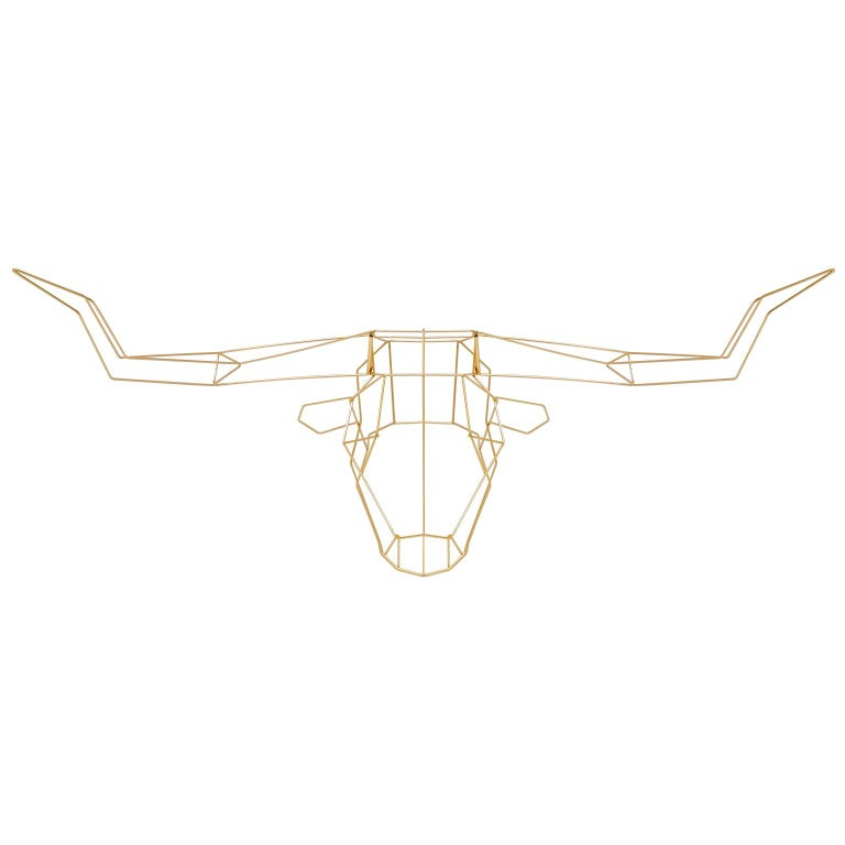 Animal Sculpture, Wall Art, the Long Horn by Bend Goods, Gold For Sale
