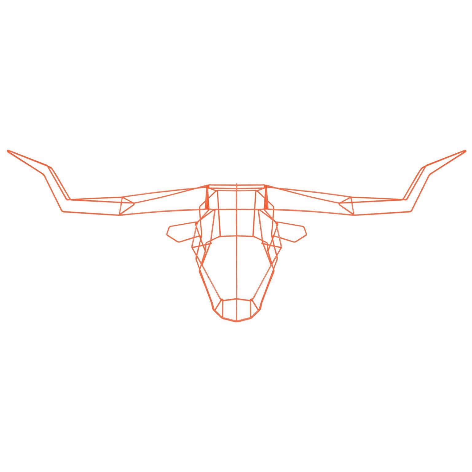 Animal Sculpture, Wall Art, the Long Horn by Bend Goods, Orange