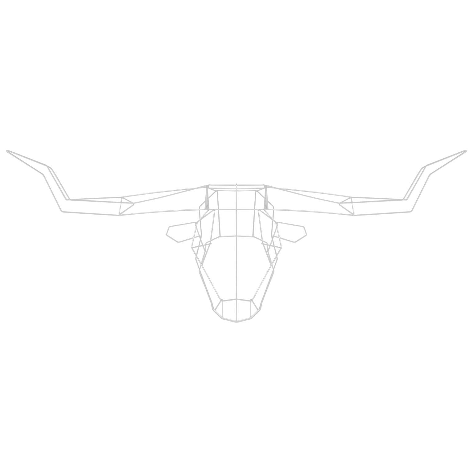 Animal Sculpture, Wall Art, the Long Horn by Bend Goods, White