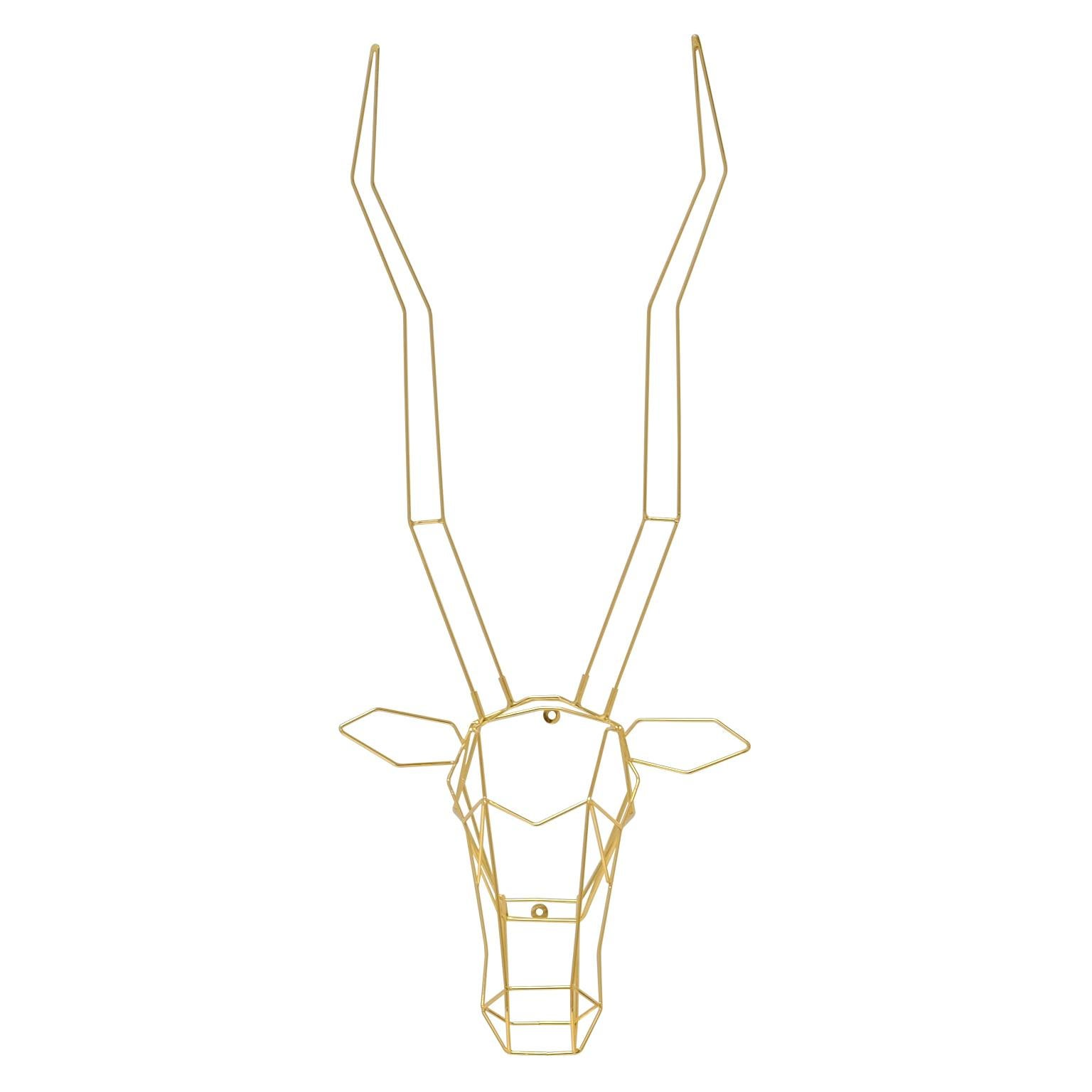 Animal Sculptures, Wire Gazelle, Wall Mounted Art by Bend Goods, Gold