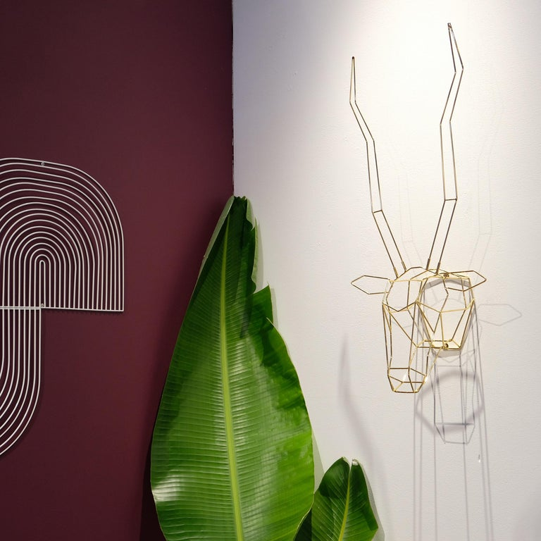 Modern Animal Sculptures, Wire Gazelle, Wall Mounted Art by Bend Goods, Orange For Sale