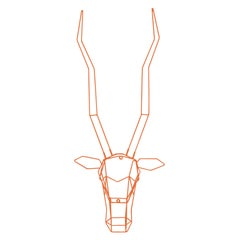 Animal Sculptures, Wire Gazelle, Wall Mounted Art by Bend Goods, Orange