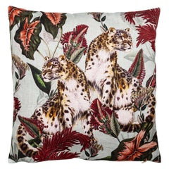 Animalia, Cheetahs, Contemporary Linen Printed Pillow by Vito Nesta