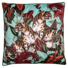 Animalia, Cheetahs, Contemporary Velvet Printed Pillow by Vito Nesta