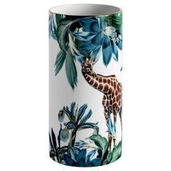 Animalia, Contemporary Porcelain Vase with Decorative Design by Vito Nesta