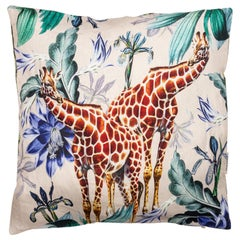 Animalia, Giraffes, Contemporary Linen Printed Pillow by Vito Nesta