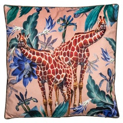 Animalia, Giraffes, Contemporary Velvet Printed Pillow by Vito Nesta