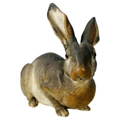 Animalia Life-Size Model of a Rabbit Hand-Painted Made of Terracotta