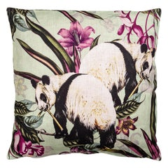 Animalia, Pandas, Contemporary Linen Printed Pillow by Vito Nesta