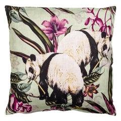 Animalia, Pandas, Contemporary Linen Printed Pillow by Vito Nesta