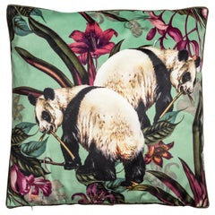 Animalia, Pandas, Contemporary Velvet Printed Pillow by Vito Nesta