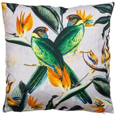 Animalia, Parrots, Contemporary Linen Printed Pillow by Vito Nesta