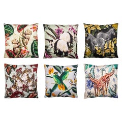Animalia, Parrots, Contemporary Linen Printed Pillow by Vito Nesta