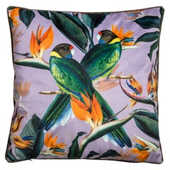 Animalia, Parrots, Contemporary Velvet Printed Pillow by Vito Nesta
