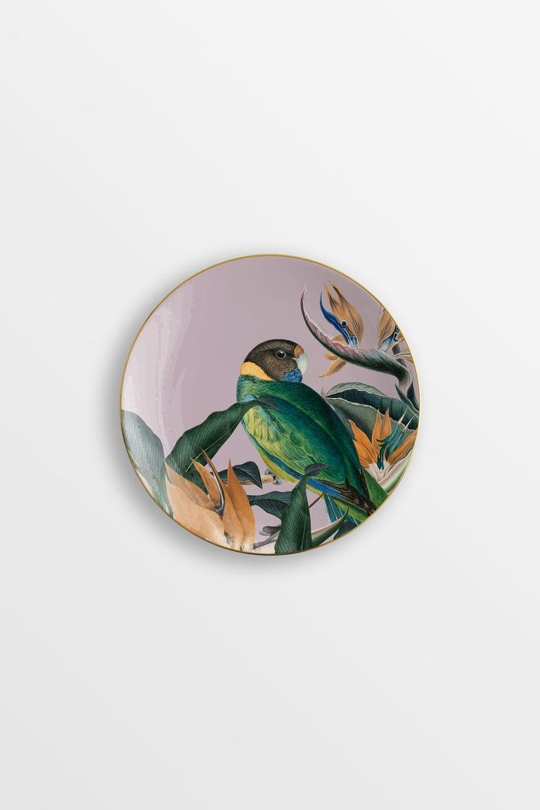 Italian Animalia, Six Contemporary Porcelain Dessert Plates with Decorative Design For Sale