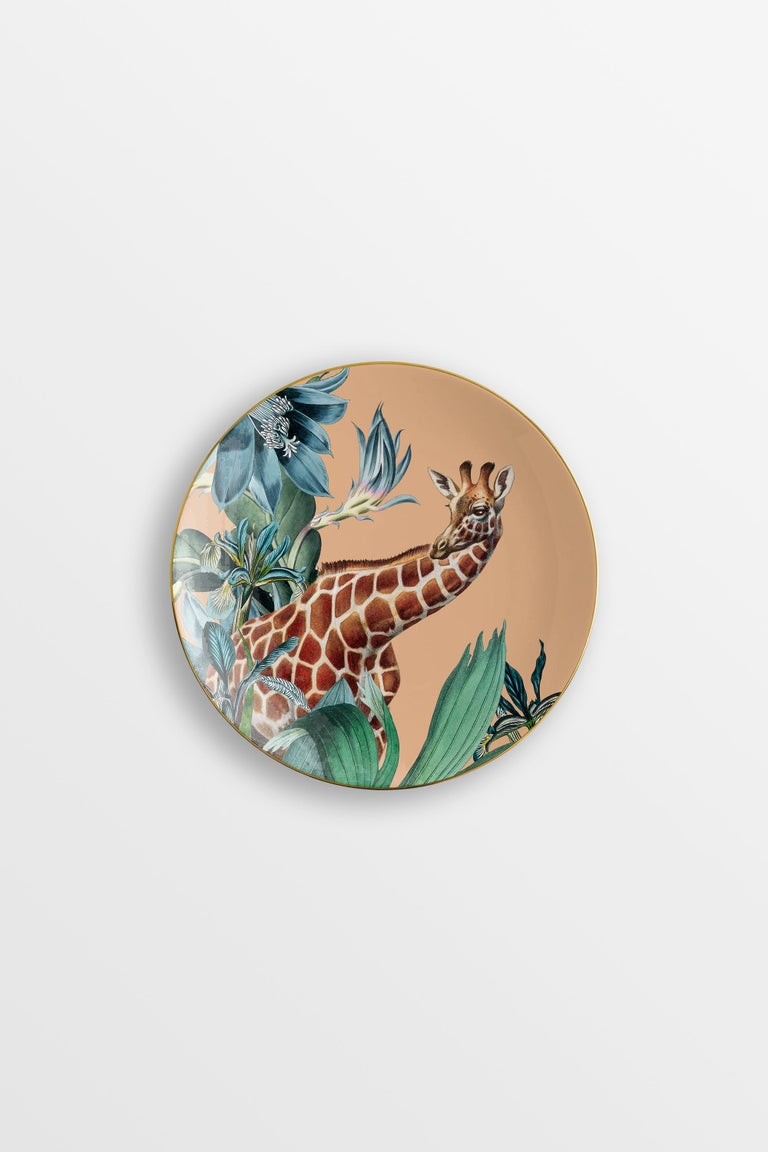 Animalia, Six Contemporary Porcelain Dessert Plates with Decorative Design In New Condition For Sale In Milan, IT