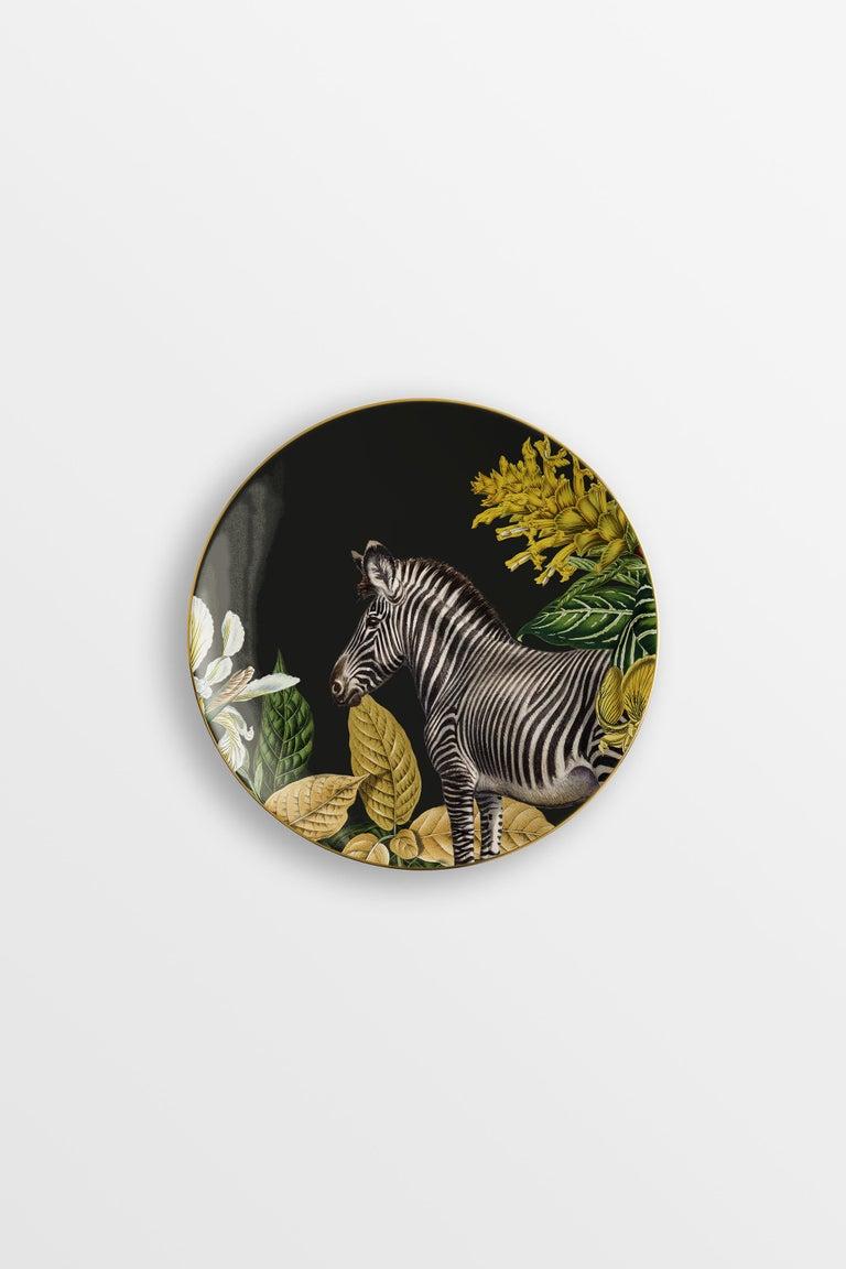 Animalia, Six Contemporary Porcelain Dessert Plates with Decorative Design For Sale 2
