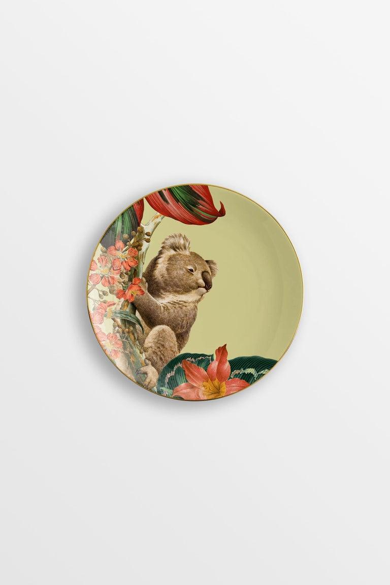 Animalia, Six Contemporary Porcelain Dessert Plates with Decorative Design For Sale 3