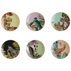 Animalia, Six Contemporary Porcelain Dessert Plates with Decorative Design