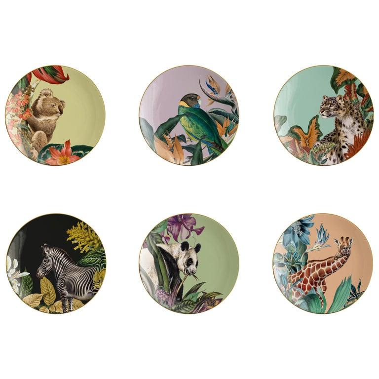Animalia, Six Contemporary Porcelain Dessert Plates with Decorative Design For Sale