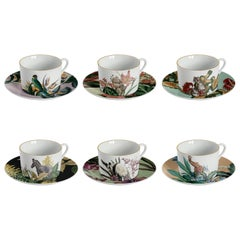 Animalia, Tea Set with Six Contemporary Porcelains with Decorative Design