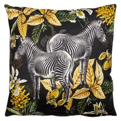 Animalia, Zebras, Contemporary Linen Printed Pillow by Vito Nesta