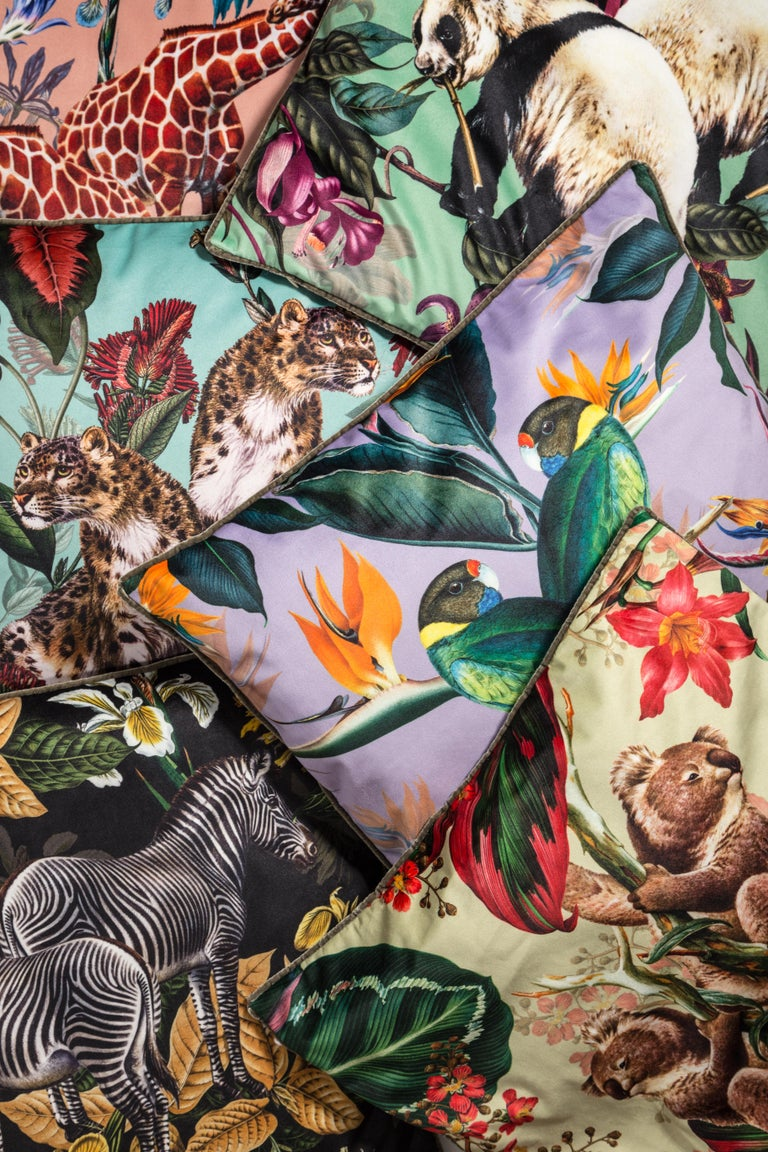 Italian Animalia, Zebras, Contemporary Velvet Printed Pillow by Vito Nesta For Sale