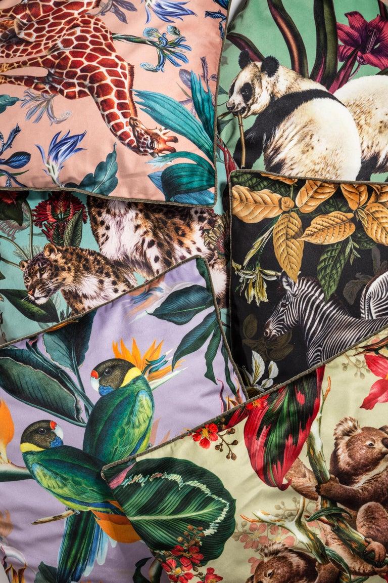 Animalia, Zebras, Contemporary Velvet Printed Pillow by Vito Nesta For Sale 1