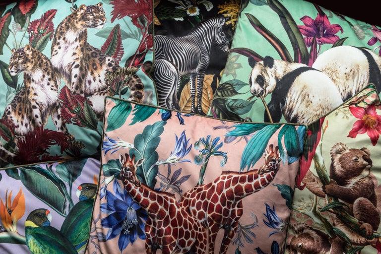 Animalia, Zebras, Contemporary Velvet Printed Pillow by Vito Nesta For Sale 2