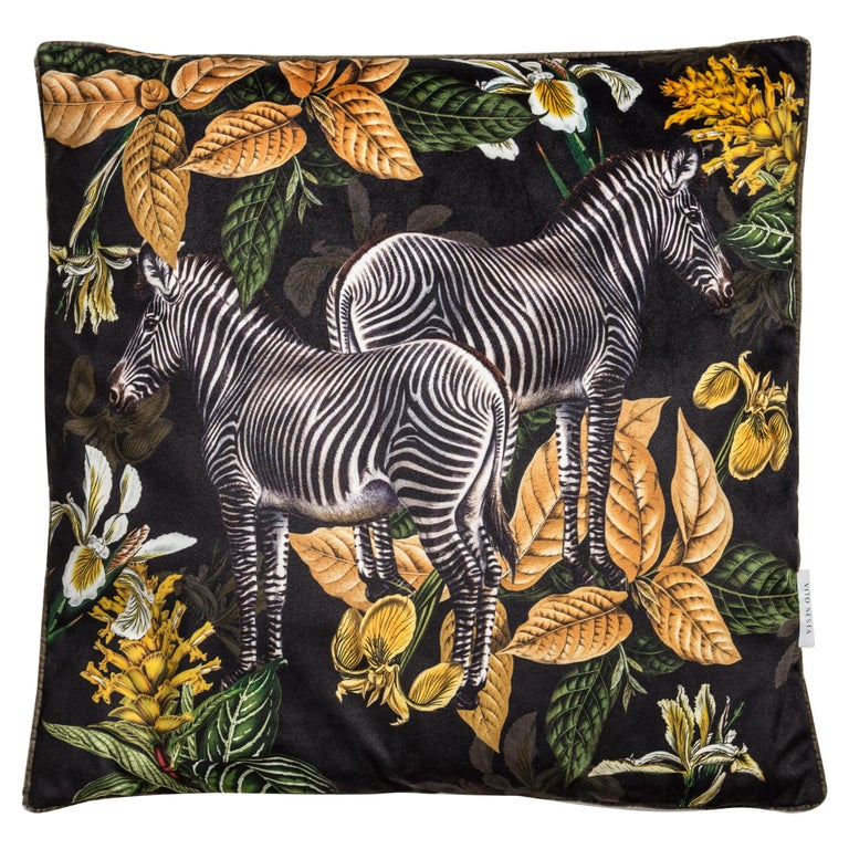Animalia, Zebras, Contemporary Velvet Printed Pillow by Vito Nesta For Sale