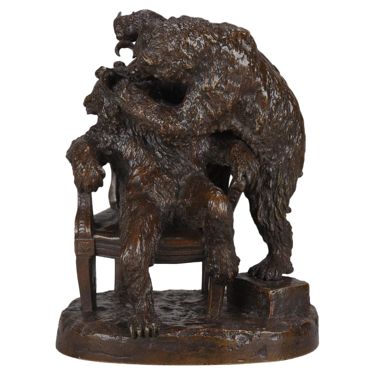 """Animalier Bronze Group """"Bear at the Dentist"""" by Christophe Fratin"""