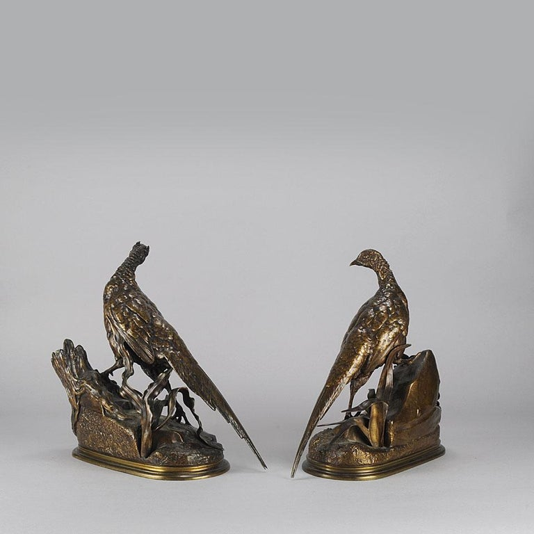 French Animalier Bronze Pair Entitled 'Cock & Hen Pheasant' by Jules Moigniez For Sale