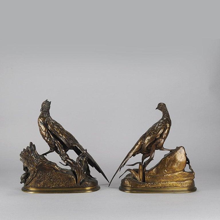 Cast Animalier Bronze Pair Entitled 'Cock & Hen Pheasant' by Jules Moigniez For Sale