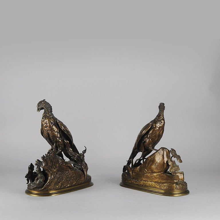 Animalier Bronze Pair Entitled 'Cock & Hen Pheasant' by Jules Moigniez In Excellent Condition For Sale In London, GB