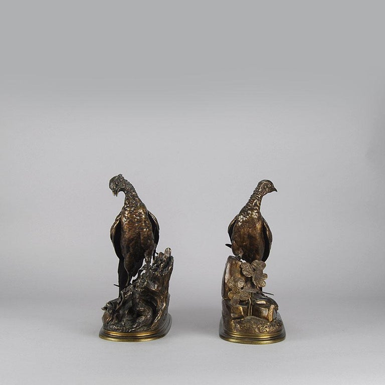 Late 19th Century Animalier Bronze Pair Entitled 'Cock & Hen Pheasant' by Jules Moigniez For Sale