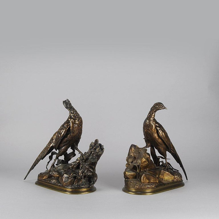 Animalier Bronze Pair Entitled 'Cock & Hen Pheasant' by Jules Moigniez For Sale 1