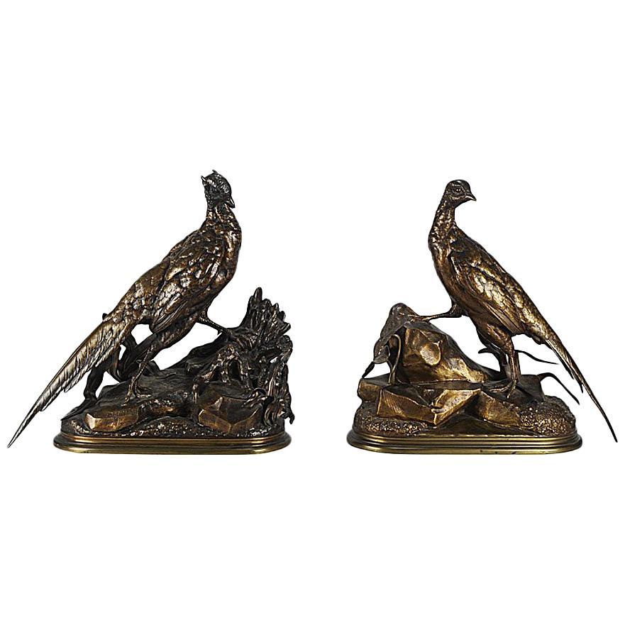 Animalier Bronze Pair Entitled 'Cock & Hen Pheasant' by Jules Moigniez
