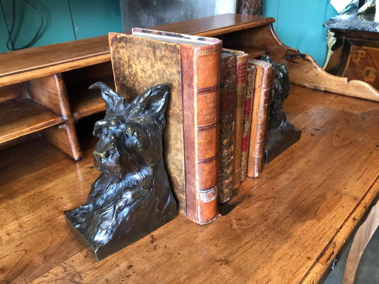 Animalier Bronze Sculptures of Scotties Dog Bookend by Maximillien Fiot Art Deco In Good Condition For Sale In West Hollywood, CA