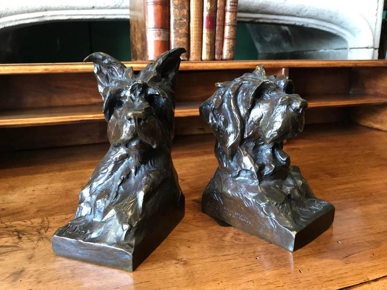 Animalier Bronze Sculptures of Scotties Dog Bookend by Maximillien Fiot Art Deco For Sale 3