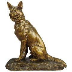 "Animalier Bronze ""Seated Alsatian"" by Louis Riché"