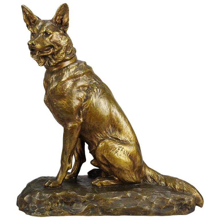 "Animalier Bronze ""Seated Alsatian"" by Louis Riché For Sale"
