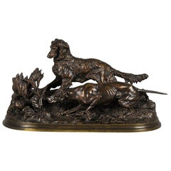 Animalier Bronze Study Entitled 'Chasse à la Perdrix' by Pierre-Jules Mêne